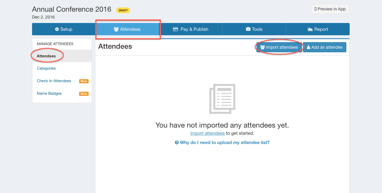 how do i upload the attendee list help center