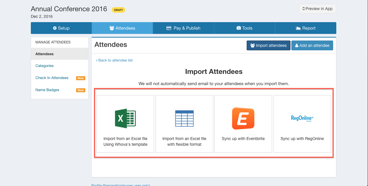 How do I upload the attendee list Help Center – Attendees List Template